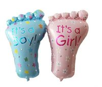 Wholesale Girls Feet Decoration - 50 pcs Lot Free shipping hot sell feet baby boy and baby girl cartoon helium balloon children's toy & gift wedding and Party decoration