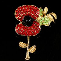 Wholesale Heart Wedding Brooches - 2016 New Crystal Poppy Brooch Alloy Korean ladies Brooch Pins Charming Crystal Flower Poppy Brooch For women Fashion Jewelry