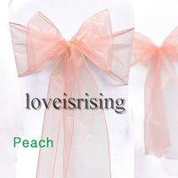 "Wholesale Wedding Decor Prices - Lowest Price-50pcs Peach Color 8"" (20cm) W x 108"" (275cm) L Organza Chair Sashes Wedding Party Banquet Decor+Free Shipping"