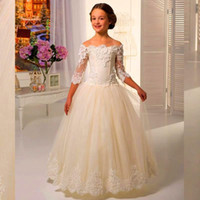 Wholesale Photo Half - Pretty Lace Flower Girls Dresses A Line Bateau Kids Floor Length Flower Girl Gowns for Wedding Communion Half Sleeves Birthday Girl Dress