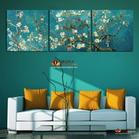 Wholesale Oil Reproduction Van - Large Modern Paintings Van Gogh Oil Painting Reproductions 3 Piece Abstract Canvas Art Almond Flower Picture Modern Wall Decor