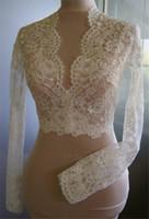 mütevazı dantel ceket düğün toptan satış-Ucuz Gelin Mütevazi Alencon Dantel Kristaller V Neck Kılıf Düğün Gelin Bolero Gelinlik için Long Sleeve Dantel Applique Ceket