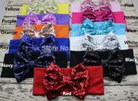 Wholesale Sequin Tops For Girls - New Big Sequin Bow Headbands for Girl Hair Accessories Fashion Sequin Bow Headwrap Baby Top Knot Headband 10pcs lot