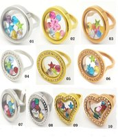 With Side Stones order custom glass - mix order L stainless steel custom glass memory locket ring twist screw open locket on sale