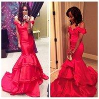 sexy red off schultern prom kleid großhandel-Sexy Red Mermaid Prom Party Kleider 2019 Schulterfrei Tiered Formelle Lange Abendkleider Roter Teppich Kleid Vestidos De Festa