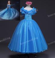 2015 wedding dresses al por mayor-2015 último vestido de Cenicienta de Cosplay de los cabritos Vestido de la muchacha de flor de la manera Vestido de boda lindo del niño Princesa Ball Dresses