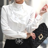 Wholesale Collar Decorated Ladies - 2015 Korean Candy Color Fashion Women Solid Work Shirts Size S-2XL Turtleneck Button Decorated Collar Design Lady Formal Blouse