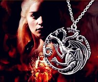 Wholesale 2015 new arrival necklace Flim Jewelry Daenerys Targaryen Dragon Necklace Game of Throne Fire And Blood Hot sale