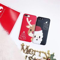 Wholesale Lover Phone Cases - For Iphone X 7 8 7 8Plus 6 6s 6 6sPlus Mobile Phone Case Christmas Lovers Phone Shell Soft Cover IMD Phone Sets