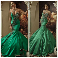 Wholesale Dazzing Party Dress Mermaid - 2016 Luxurious Formal Mermaid Evening Dresses Dubai Party Gowns Sweetheart Party Dresses Backless Beading Dark Green Satin For Women Dazzing