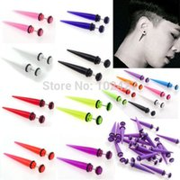 Atacado-2Pcs 6MM Acrílico UV Falso Ear Plugs Stretcher Brinco Taper Spike Cheater Expander Earing Stud Piercing