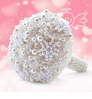 Wholesale Ivory Pearl Bouquet - Luxury Pearls Artificial Bouquet Handmade Crystal Ivory Brooch Bouquet 2018 New Wedding Flowers Bridal Bouquets