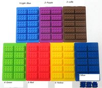 Wholesale Chocolate Cake Types - 7 colors creative 1519 silicone ice trays ice maker Lego type Muffin Sweet Candy Jelly fondant Cake chocolate Mold Ice Moulds Candy Molds