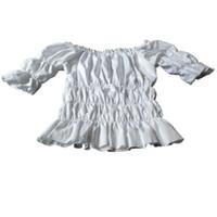половина рукава совок шеи сверху оптовых-Плюс Размер Fahion женская половина рукава ренессанс хэллоуин рождество крестьянская девка костюм топ блузка рубашка совок шеи сплошной пустой блузка