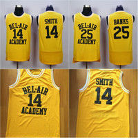 kaliteli formalar toptan satış-Mens # 14 OLACAK SMITH BEL-HAVA Akademisi Jersey # 25 CARLTON BANKS 100% Dikişli Basketbol Formalar Sarı Yüksek Kalite