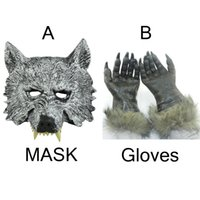 свободная резиновая маска оптовых-Wholesale-Freight Free Party Appliance Halloween Day Latex Rubber Full Face Wolf Mask and 1 Wolf Gloves Free Size H-012-1