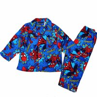 Wholesale Spiderman Trousers - Boy The Spiderman Pajamas 5Sets lot 2-6Years Boy The Spiderman Cartoon Pattern Winter Flannel Cardigan &Trousers 2 Pieces Pajamas Sleep Wear