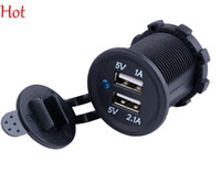 Wholesale Dc12v Inverter - Hot Universal Waterproof Car Charger Auto Duel USB Motorcycles Charger 2 port Outlet 1A 2.1A Panel Mount Car Power Inverter 12V SV002174