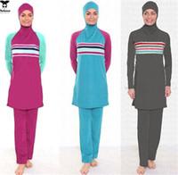 bañadores islamicos al por mayor-2015 Musulmán cuerpo completo cubre traje de baño traje de baño musulmán traje de baño de las mujeres modesta ropa de playa islámica traje de baño S-XXXL