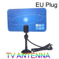 Wholesale Uhf Tv Antenna Indoor - Digital Indoor TV Antenna HDTV DTV HD VHF UHF Flat Design High Gain EU Plug
