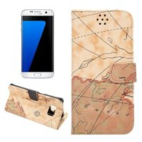 World map cas pour Galaxy S7 bord Wallet ID Credit Card Béquille flip en cuir PU Carte Purse Case Couverture arrière