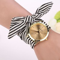 Wholesale Ladies Cloth Design - New design Ladies Stripe cloth wrist watch fashion women dress high quality fabric watch sweet girls watch 3 color