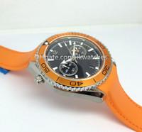 relógio alaranjado dos homens da faixa de borracha venda por atacado-Novos homens da moda assistir relógios de luxo quartzo cronômetro orange BEZEL relógio de pulso de aço inoxidável elástico 313