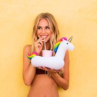 Wholesale Party Beverage - Mini Unicorn Inflatable Cup Holder Drink Floating Newest Party Beverage Boats Phone Stand Holder Pool Toys c274