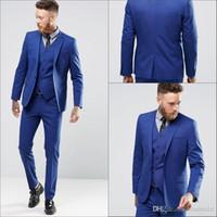 Wholesale Mens Black Dinner Suit - Royal Blue Men Wedding Suits New Mens Dinner Party Prom Suits Custom Made Groom Tuxedos Groomsmen Wedding Blazer Suits (Jacket+Pants+Vest)