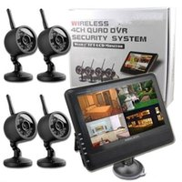 Wholesale Dvr System Lcd Monitor - Wireless 4ch Quad DVR Security System with 7 inch TFT-LCD Monitor 2.4GHZ Digital Baby Monitor 300M Transmission Distance