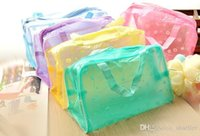 Wholesale Hot Girls Transparent - 2015 New Fashion Women Girl Hot Floral Print Transparent Waterproof Cosmetic Bag Toiletry Bathing Pouch Cai0616 A5