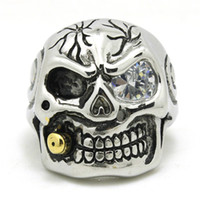 Wholesale China Wholesale Evil Eye - Mens Silver 316L Stainless Steel Evil Skull Ring Mens Top Quality Crystal Eye Skull Ring Wholesale 4pcs lot