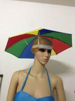 Wholesale Cheap Novelty Items Wholesale - Wholesale-Novelty Items Cheap Rainbow Umbrella Hat For Women And Men Cheap Mini Cap Head Rain Umbrellas Fishing Beach Umbrella Hands Free