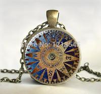 Wholesale Copper Compass - Vintage blue compass glass Cabochon round pendant necklaces Art picture necklace bronze Choker jewelry CN383 gift