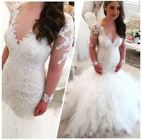 Wholesale Sleeved V Neck Lace Dress - Illusion Long-sleeved Lace Wedding Dresses 2016 V Neck Lace Appliques Plus Size Bridal Gowns Sparkle Sequins Cascading Ruffles Wedding Dress