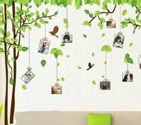 палки деревьев для стен оптовых-180 * 300 см зеленое дерево наклейки на стену подвижные стены палки семьи стены мультфильм наклейки для детской игровой