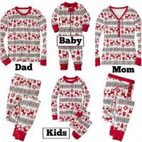 Wholesale Shirt Denim Pants - Christmas Pajamas Baby Xmas Elk Christmas Rompers Parent Sleepsuits Long Sleeve Nightwear T Shirts Pants Outfits Cotton Top Trousers B3514