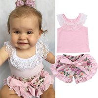 Wholesale Infant Lace Tops - Wholesale- Hot Kids Lace Tops Baby Girl Pink T-shirt Toddler Floral Shorts Fashion Infant Summer Outfits Set