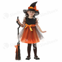 Wholesale Pumpkin Costume Women - Theme Costume Coplay Halloween Children's Clothes Girls Fancy Clothes Small Witch Cos Garment Pumpkin Witch Costume Free DHL Factory Direct