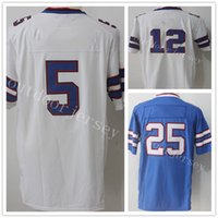 New Jersey 12 Jim Kelly 25 LeSean McCoy 5 Tyrod Taylor 34 Thurman Thomas Blue Maglie popolari Vendita calda