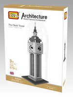 Horloges En Plastique Pas Cher-Big Ben Clock Tower Model LOZ 3D DIY Plastic Building Blocks Modèle pour les adultes et les enfants / maternelle jouets éducatifs bricolage