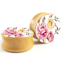 Wholesale Ear Tunnel Piercing Wood - Vintage Flower Double Flare Saddle Ear Plug Gauges Tunnel Mix 6-16mm Wood Body Piercing Jewelry