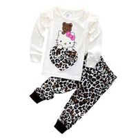Wholesale Girls Hoody Sets - Girls Autumn Cotton Clothing Set Long Sleeve hoody Pants two pieces Kitty cat cartoon leopard casual Size for 2,3,4,5,6,7 years
