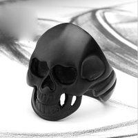 Wholesale Super Skull Rings - Black Coating Super Vintage 316L Titanium Steel Rock Punk Big Black Skull Ring Jewelry For Men On Sale