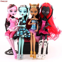 Wholesale Small Girl Doll - 4pcs  Lot New Style Monster Fun High Dolls Monster Draculaura Hight Moveable Joint ,Children Best Gift Wholesale Fashion Dolls