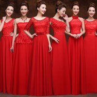 Wholesale Lace Toast - Bridesmaid dress bride toast clothing long paragraph dress solid dress lace wedding