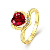 Wholesale Hug Rings - K gold plated rings heart hug red stone zircon crystal Diamond Ring & classic K platina Engagement wedding ring for women size7 8