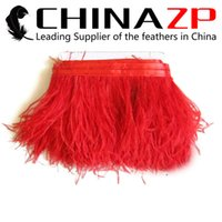 Wholesale party goods manufacturers - Gold Manufacturer CHINAZP Crafts Factory 10yards lot 10~15c (4~6inch) in Width Good Quality Dyed Red Ostrich Fringe Trim Feather for Dresses