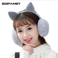 Wholesale Fur Headphones - Wholesale- Female Winter Earmuff Warm Ear Muffs Headphones Girls Earmuffs High Quality Cat Shape Earmuff for Women Earmuff Protection Ear