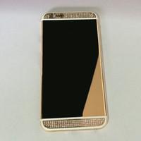 boite arrière pour iphone 24k achat en gros de-Remplacement de cadre de couverture arrière de boîtier de boîtier arrière doré de miroir GOLD 24K de miroir plaqué avec des cristaux de diamants pour l'iPhone 6